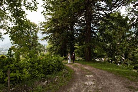 Coppia di sposi tra gli alberi