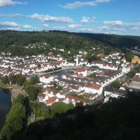 Blick von oben auf Bad Karlshafen