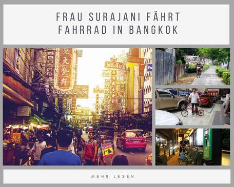 Frau Surajani fährt Fahrrad in Bangkok