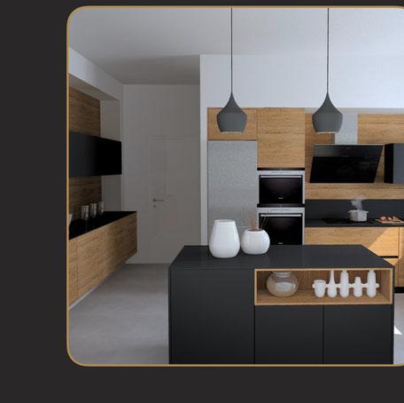 cuisine moderne bois et noir avec niches