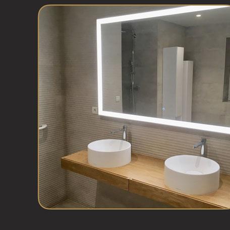 salle de bain bois et vasques rondes Porcelanosa