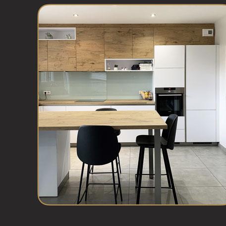 cuisine moderne bois et laque blanche mat
