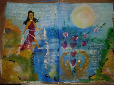 Art Journaling Christine Lukas Kunsttagebuch Ausdrucksmalen Bauchgefühl Intuition Workshops Kreativität Bingen am Rhein