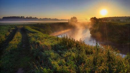 www.ronaldosephius.nl dubbel pad sloot mist ondergaande zon  Bewust Groeien vanuit innerlijke kracht
