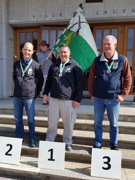 2ème Berger Christophe, Froideville TS, 1er Joris Cornut, Froideville TS, 3ème Yan Auberson, Yverdon TS