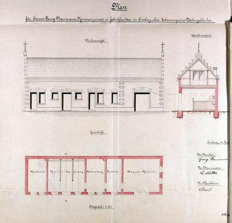 1896 Antrag zum Bau der Nebengebäude