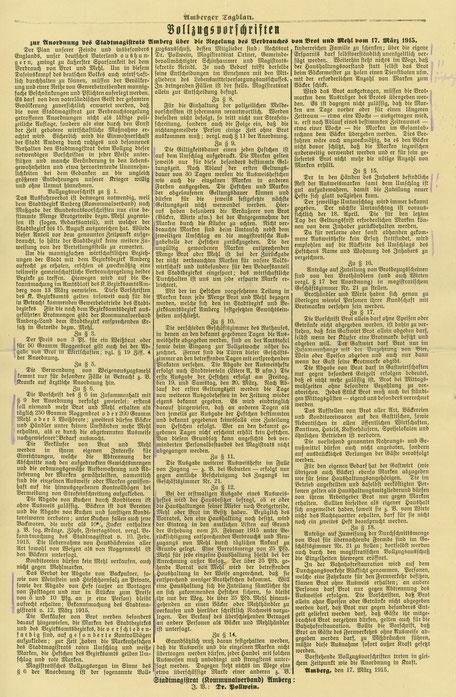 1915 Vollzugsvorschriften Stadtmagistrat Amberg