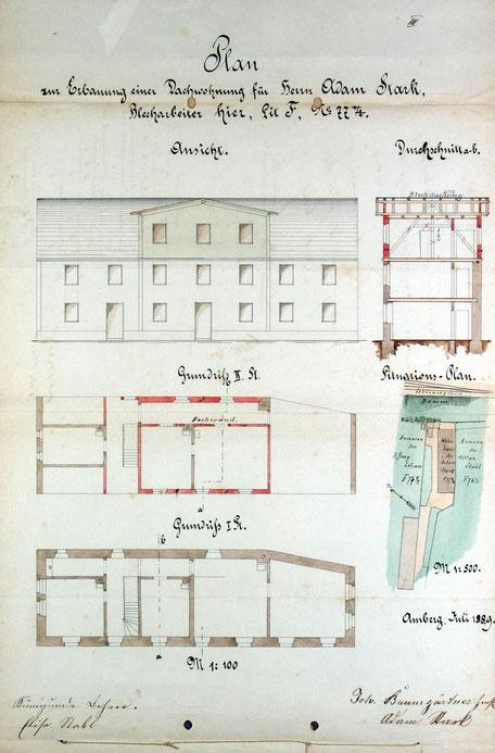 1889 Bauantrag Adam Stark zum Ausbau der Dachwohnung