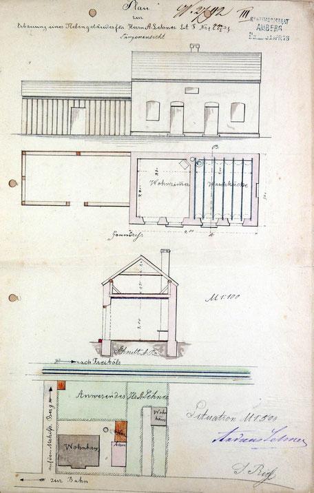 1878 Antrag für Nebengebäude von Andreas Lehner
