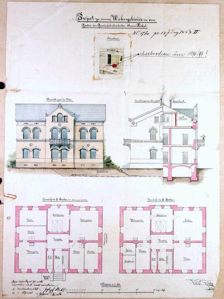 1863 Bauplan von Gewehrfabrikarbeiter Nickel