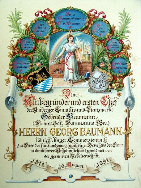 Belegschaft an Georg Baumann zum 25 jährigen Bestehen