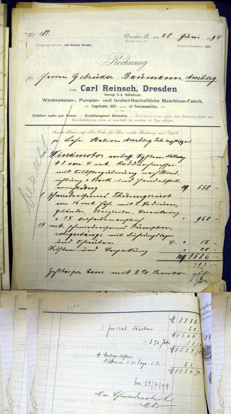 1894 Rechnung für Windmotor