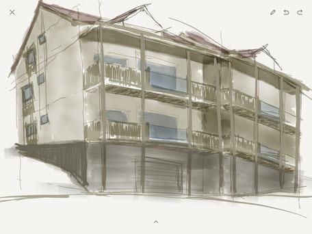 Arbeitsskizze des Architekten