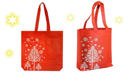 Weihnachtstüte in rot mit Tannenbaum und Stern in weiß aus Non Woven