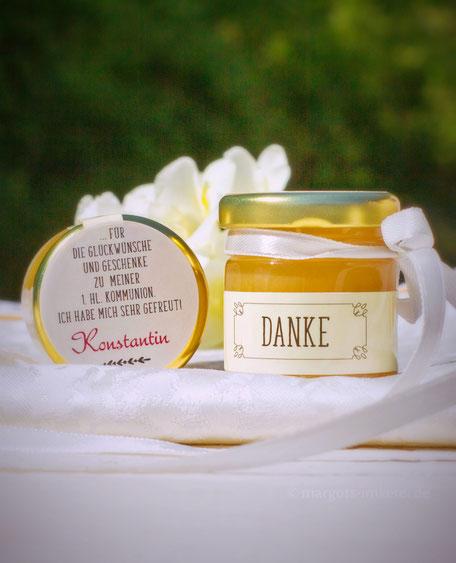 Honig - süße Platzkarte zur Hochzeit, Silberhochzeit, Kommunion, Konfirmation, Geburtstag