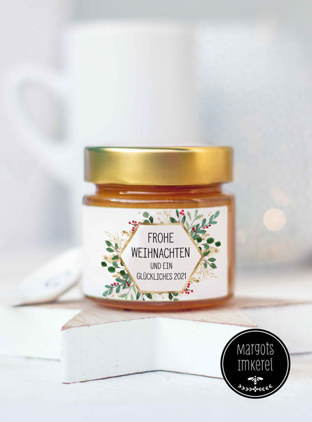 Ein kleines Geschenk zu Weihnachten - für Kunden, Mitarbeiter, Freunde und Nachbarn. Köstlicher Honig im hübschen Geschenkglas.