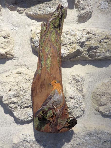 """Peinture à l'huile sur écorce d' eucalyptus de Françoise TROTABAS -  """"Le rouge gorge""""- 2015"""