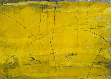 CEHEL - Poison jaune - 50x70 - 2016 - Encre et peinture marouflés sur toile