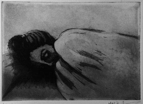 Maria Ahmadi - gravure - sieste 2  - 30x40cm -2014