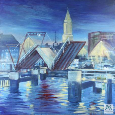 Astrid Krömer, Kieler Klappbrücke, Acryl auf Leinwand, 2020, 100x100 cm