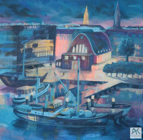 Astrid Krömer Malerei, Schiffahrtsmuseum Kiel, Acryl auf Leinwand, 2021, 100x100 cm