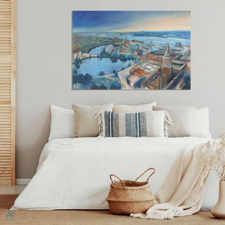 Astrid Krömer, Blick über die Landeshauptstadt Kiel, Acryl auf Leinwand, 2020 150x100 cm