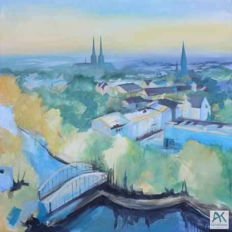Astrid Krömer, Blick über Lübeck, Acryl auf Leinwand, 2019, 100x100 cm