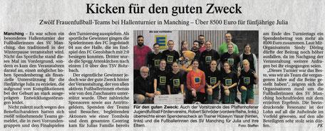 Auch der Jugendfußball Förderverein Pfaffenhofen unterstützt diese lobenswerte Aktion. PK vom 15.1.2020