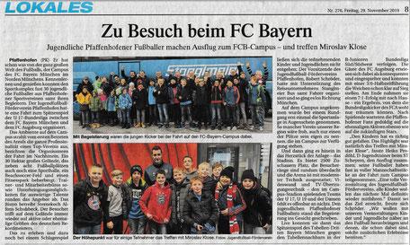 Busfahrt in den Bayern-Campus - Treffen mit Miro Klose inklusive; PK vom 29.11.2019