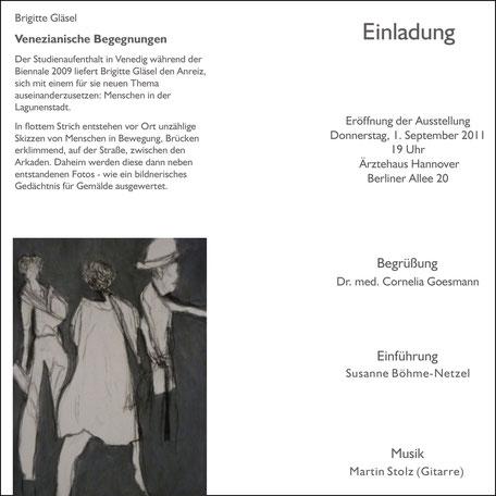 Einladung zur Ausstellung Venezianische Begegnungen in Hannover am 1. September 2011 Rückseite
