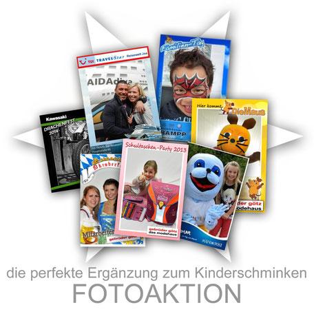 Fotoaktion Kinderschminken Aktion Kinder Firma Sommerfest Event Promotion professionell Stand Attraktion Party Logo individuell angepasst Firmenveranstaltung