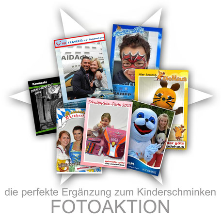 Fotoaktion Kinderschminken Aktion Kinder Firma Sommerfest Event Promotion professionell Stand Attraktion Party Logo individuell angepasst Firmenveranstaltung