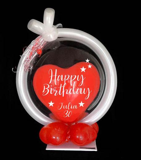 Luftballon Ballon Bubble Geschenk Geschenkballon personalisiert individuell beschriftet Happy Birthday Name Alter Zahl Herz Geschenk Überraschung Bouquet runder Geburtstag Party Deko Dekoration Geldgeschenk Geld