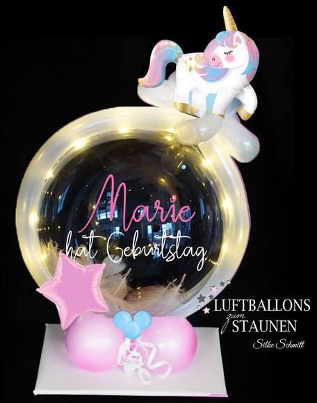 Ballon Luftballon Geburtstag Bubble Einhorn süß Stern rosa hellblau Geburtstag Kindergeburtstag Überraschung Deko Dekoration Tischdeko Mitbringsel Geldgeschenk Versand LED Lichterkette beleuchtet