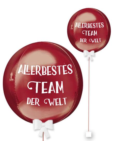Bubble Ballonkugel Orbz Allerbestes Team der Welt Kollege personalisiert beschriftet Firma