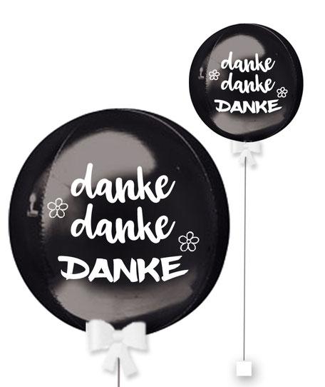 Ballonkugel Orbz Danke Danke Danke personalisiert beschriftet Firma