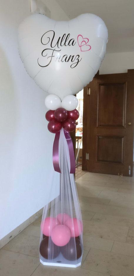 Hochzeit Luftballon Ballon Ballonbogen Dekoration Deko Girlande Efeu Herzen Doppelherzen 2 Location Hochzeitsfeier Party Brautpaar Ständer mit Namen