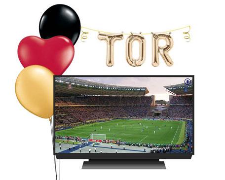 Ballon Luftballon Girlande Fußball Deutschland Weltmeisterschaft WM schwarz rot gold Versand Ballonpost Paket Deko Dekoration  Tor Buchstaben gold