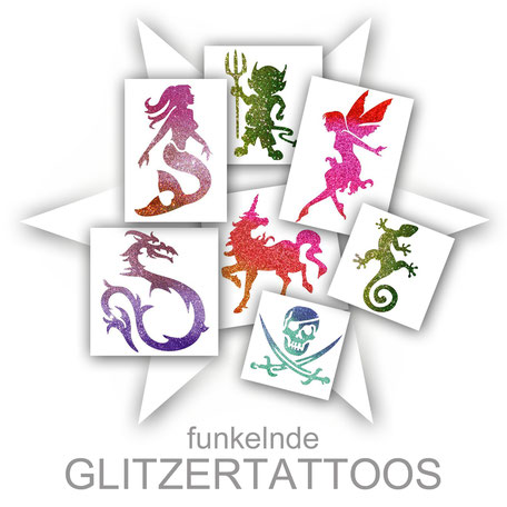 Tattoos Glitter Glitzer Glitzertattoos funkelnd Aktion Kinder Firma Sommerfest Event Mädchen Jungen glitzernd Promotion professionell Stand Attraktion Party
