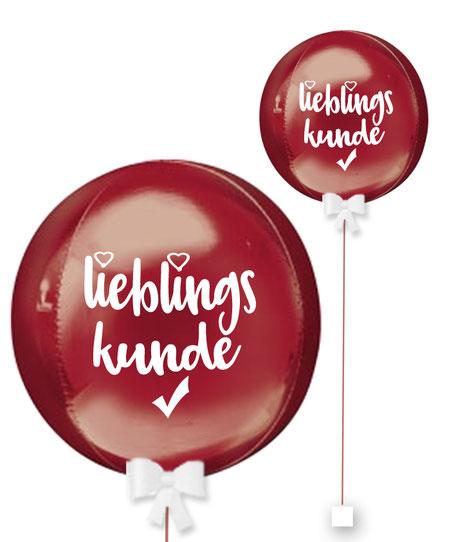 Ballonkugel Orbz Lieblingslieferant personalisiert beschriftet Firma