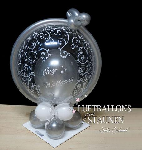 Ballon Luftballon Bubble personalisiert mit Namen Schnörkel silber gold Hochzeit Silberhochzeit Goldhochzeit Geschenk Geschenkballon Überraschung Mitbringsel Party Deko Dekoration Versand Geldballon zur diamantenen Hochzeit, Geldgeschenk, Bubble