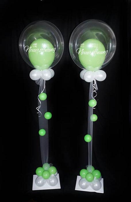 Luftballon Ballon Bubble Firmenevent Event Neueröffnung Jubiläum Eingang Begrüßung Kunden Helium individuell beschriftet personalisiert Laden Firma Geschäft Geschäftseröffnung Wiedereröffnung Ladeneröffnung