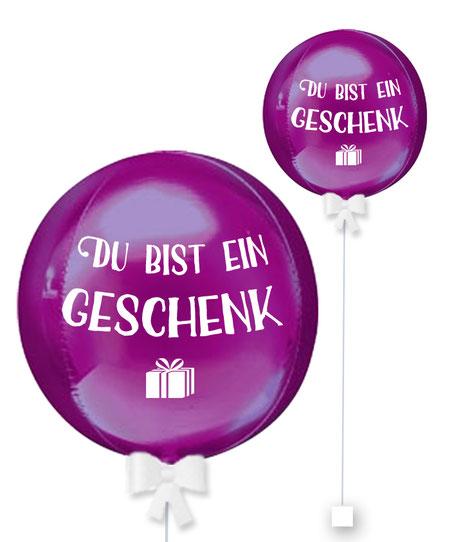 Bubble Ballonkugel Orbz Mitarbeiter Kollege Du bist ein Geschenk personalisiert beschriftet Firma