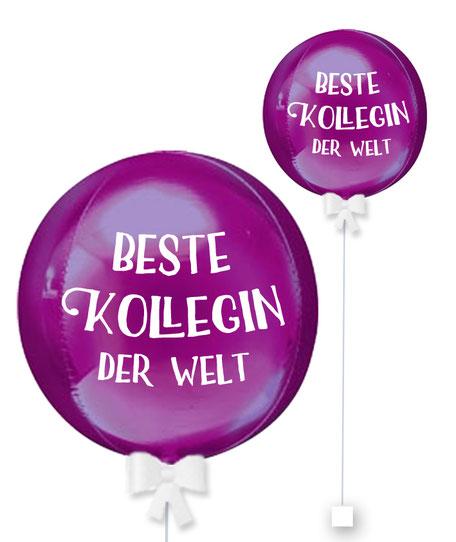 Ballonkugel Orbz Lieblingskollege beste Kollegin der Welt personalisiert beschriftet Firma