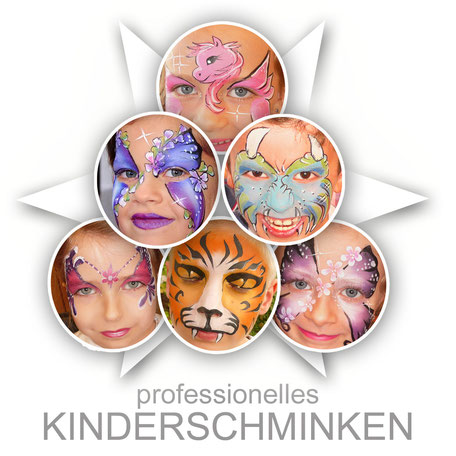 Kinderschminken Schminken Facepainting Facepaint Face-Bodypainting.de Aktion Promotion Attraktion Fest Event Party Mädchen Jungen Kinder Prinzessin Tiger Drache One Stroke Glitzer Einhorn Glitter Bling professionell Profi Schminker Schminkerinnen mehrere