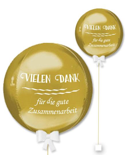 Bubble Ballonkugel Orbz Mitarbeiter Kollege Kunde Vielen Dank für die gute Zusammenarbeit personalisiert beschriftet Firma
