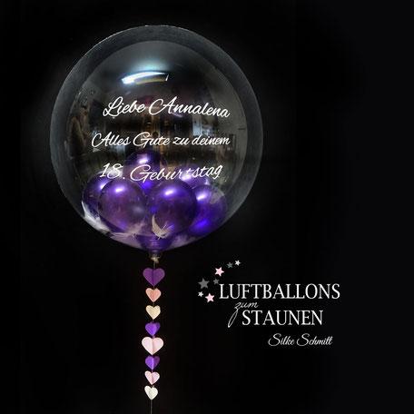 Luftballon Ballon Geschenk Bubble Wunschbubble elegant exlusiv Versand Helium Geburtstag mit Name personalisiert Personalisierung Herz Überraschung Deko Dekoration Geschenk Mitbringsel Mädchen Junge
