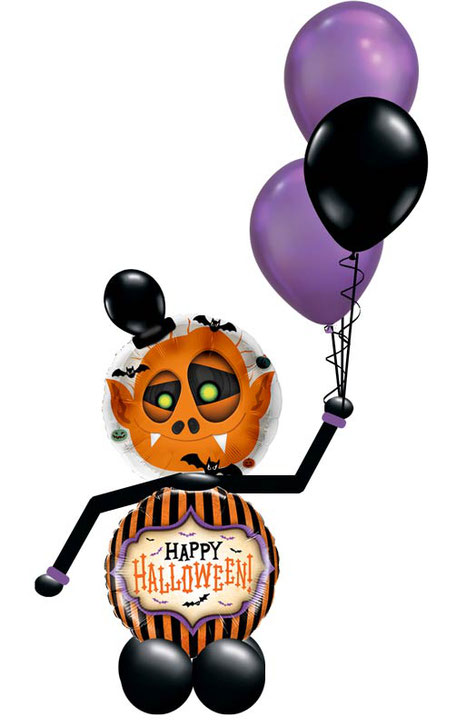 Folienballon Luftballon Männchen Ballon Happy Halloween Monster Bouquet Strauß Überraschung Mitbringsel Versand Helium