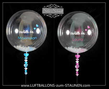 Bubble Ballon Luftballon Geschenk beschriftet durchsichtig Feder Helium Heliumballon personalisiert individuell Namen Versand Wunschbubble Herz Baby Geburt endlich da Mädchen Junge Mitbringsel pink blau