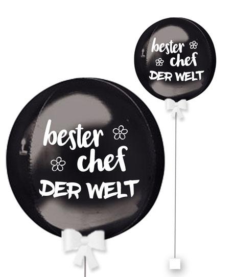 Bubble Ballonkugel Orbz bester Chef der Welt personalisiert beschriftet Firma